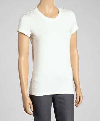 White Short-Sleeve Top