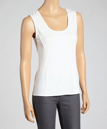 White Chelsea Sleeveless Scoop-Neck Top