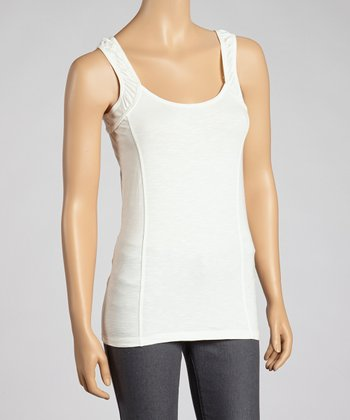 White Ruched-Shoulder Organic Tank