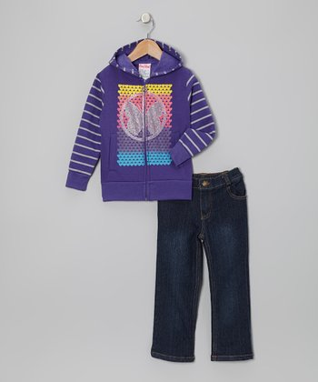Purple Butterfly Zip-Up Hoodie & Jeans - Infant, Toddler & Girls