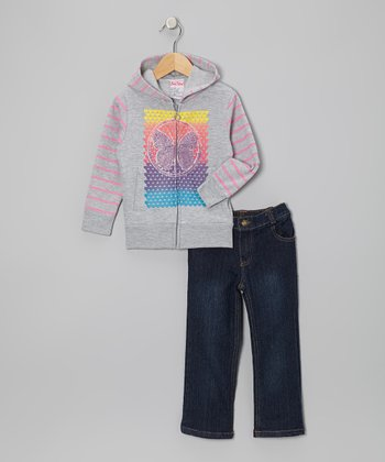 Gray Butterfly Zip-Up Hoodie & Jeans - Infant, Toddler & Girls