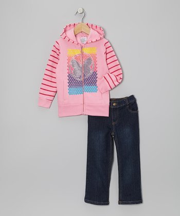 Pink Butterfly Zip-Up Hoodie & Jeans - Infant, Toddler & Girls