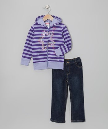Purple Stars Zip-Up Hoodie & Jeans - Infant
