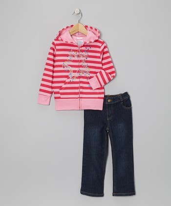 Pink Stars Zip-Up Hoodie & Jeans - Infant, Toddler & Girls