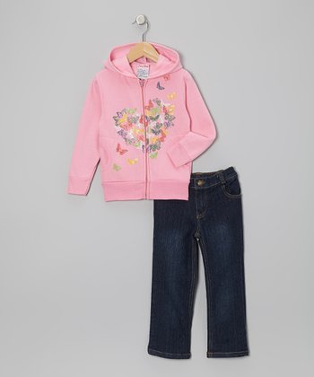 Pink Butterfly Heart Hoodie & Jeans - Infant, Toddler & Girls