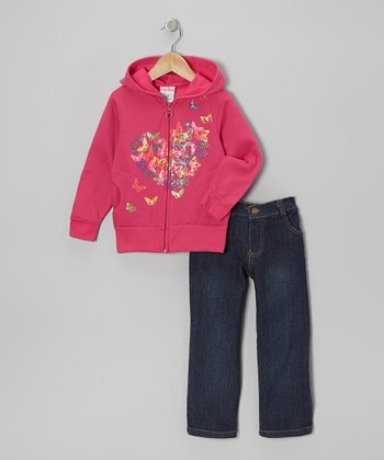 Rose Butterfly Heart Hoodie & Jeans - Infant, Toddler & Girls