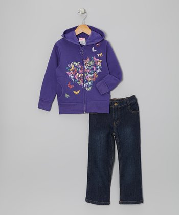 Purple Butterfly Heart Hoodie & Jeans - Infant, Toddler & Girls