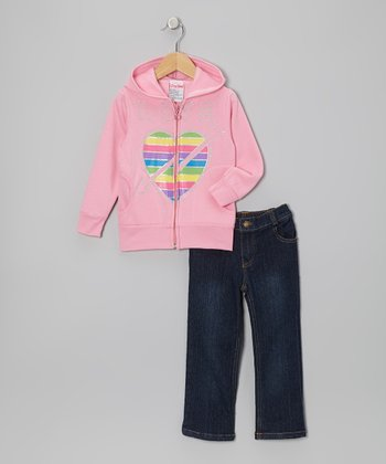 Light Pink Arrow Zip-Up Hoodie & Jeans - Infant, Toddler & Girls