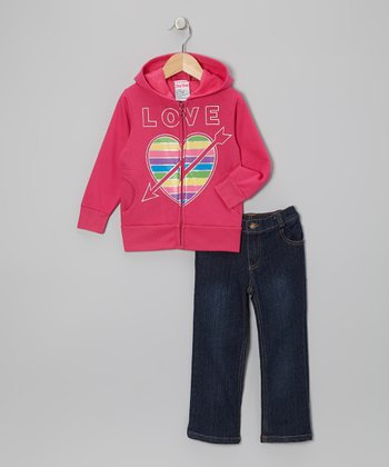 Pink Arrow Zip-Up Hoodie & Jeans - Infant, Toddler & Girls