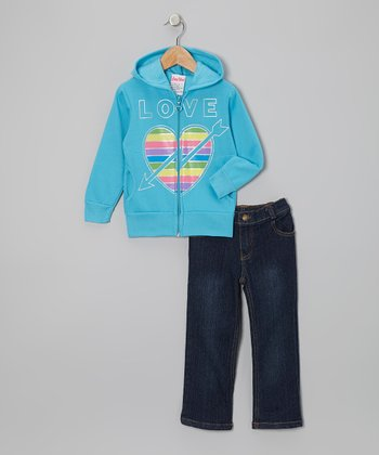 Blue Arrow Zip-Up Hoodie & Jeans - Infant, Toddler & Girls