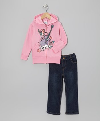 Light Pink 'Rock' Zip-Up Hoodie & Jeans - Infant, Toddler & Girls