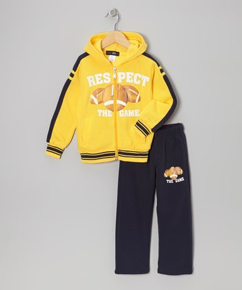 Yellow Football Zip-Up Hoodie & Pants - Toddler & Boys