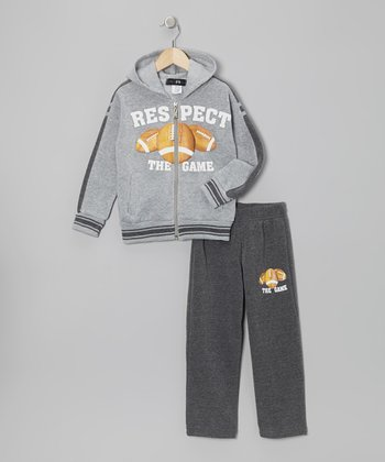 Gray Football Zip-Up Hoodie & Pants - Toddler & Boys