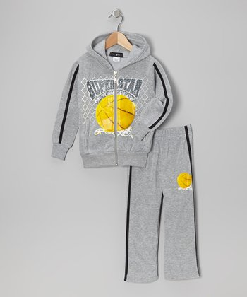 Gray 'Superstar' Zip-Up Hoodie & Pants - Toddler & Boys