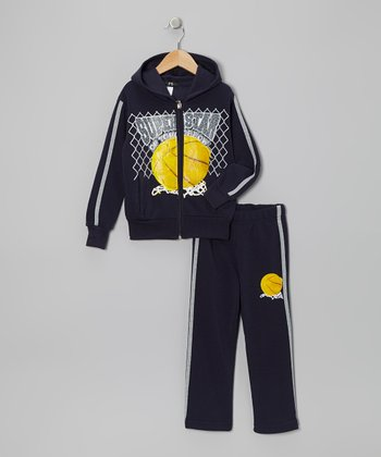 Navy 'Superstar' Zip-Up Hoodie & Pants - Toddler & Boys