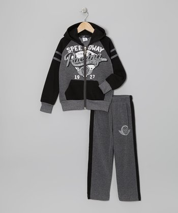 Gray 'Racing' Zip-Up Hoodie & Pants - Toddler & Boys