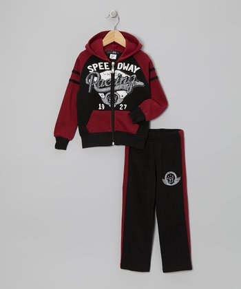 Red 'Racing' Zip-Up Hoodie & Pants - Toddler & Boys