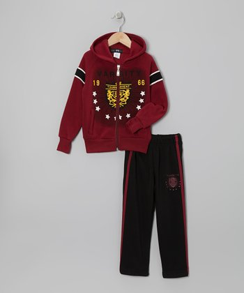 Red 'Varsity' Zip-Up Hoodie & Track Pants - Toddler & Boys
