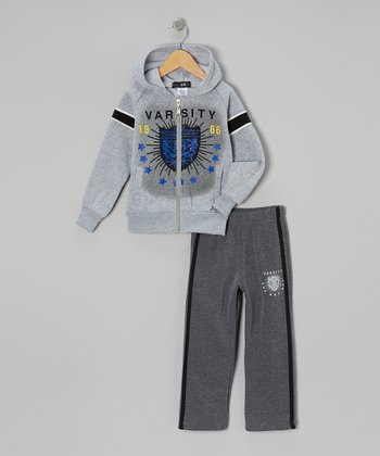 Gray 'Varsity' Zip-Up Hoodie & Track Pants - Toddler & Boys