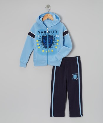 Light Blue 'Varsity' Zip-Up Hoodie & Track Pants - Toddler & Boys