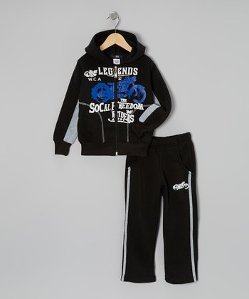 Black Motorcycle Zip-Up Hoodie & Track Pants - Toddler & Boys