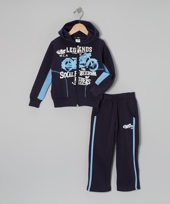 Navy Motorcycle Zip-Up Hoodie & Track Pants - Toddler & Boys