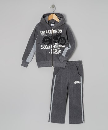 Gray Motorcycle Zip-Up Hoodie & Track Pants - Toddler & Boys