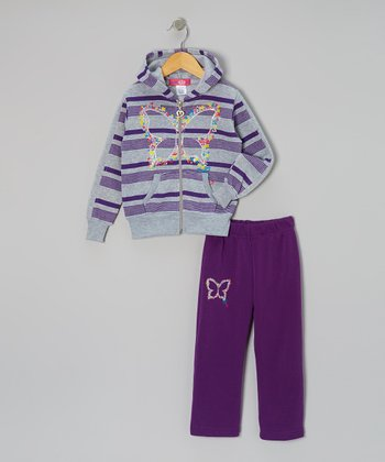 Purple Stripe Butterfly Hoodie & Pants - Toddler & Girls