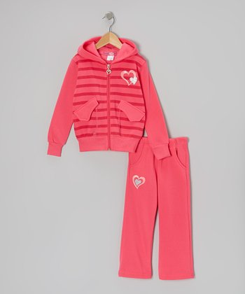 Hot Pink Stripe Zip-Up Hoodie & Pants - Toddler & Girls