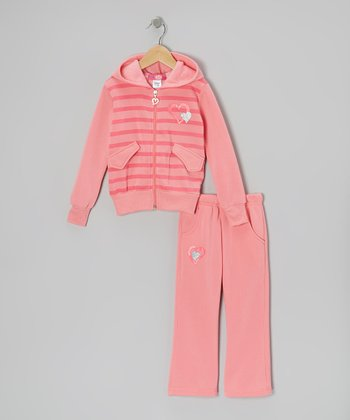 Light Pink Stripe Zip-Up Hoodie & Pants - Toddler & Girls