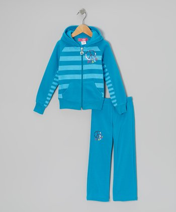 Turquoise 'Peace' Zip-Up Hoodie & Pants - Toddler & Girls