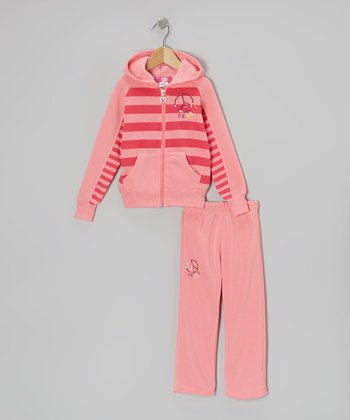 Pink 'Peace' Zip-Up Hoodie & Pants - Toddler & Girls