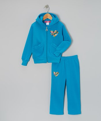Turquoise Ruffle-Pocket Zip-Up Hoodie & Pants - Toddler & Girls
