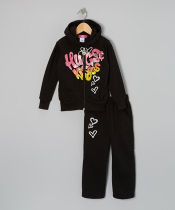 Black 'Hugs' Zip-Up Hoodie & Pants - Toddler & Girls