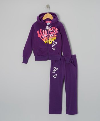 Purple 'Hugs' Zip-Up Hoodie & Pants - Toddler & Girls