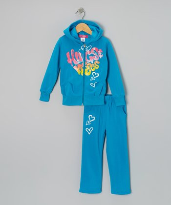 Turquoise 'Hugs' Zip-Up Hoodie & Pants - Toddler & Girls