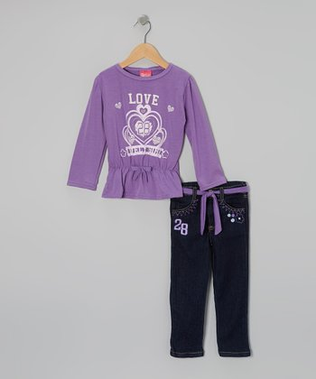 Purple Cinch-Waist Top & Jeans - Infant & Toddler