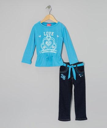 Blue Cinch-Waist Top & Jeans - Infant & Toddler
