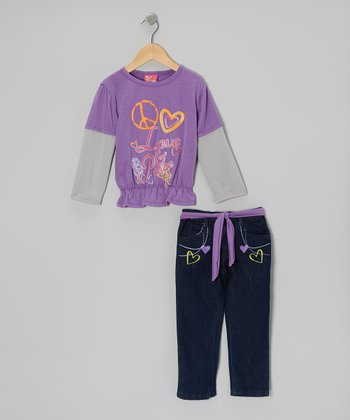 Purple 'Love & Peace' Layered Top & Jeans - Infant & Toddler