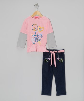 Light Pink 'Love & Peace' Layered Top & Jeans - Infant & Toddler
