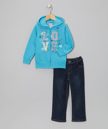 Blue 'Love' Zip-Up Hoodie & Jeans - Infant, Toddler & Girls