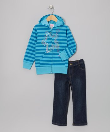 Blue Stars Zip-Up Hoodie & Jeans - Infant, Toddler & Girls