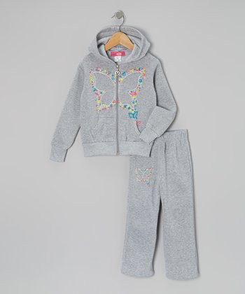 Gray Butterfly Zip-Up Hoodie & Pants - Toddler & Girls