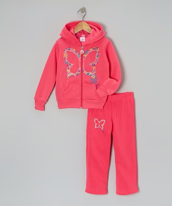 Hot Pink Butterfly Zip-Up Hoodie & Pants - Toddler & Girls