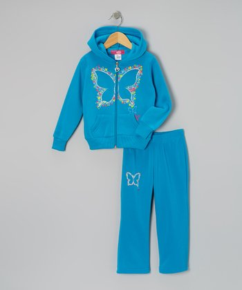 Turquoise Butterfly Zip-Up Hoodie & Pants - Toddler & Girls