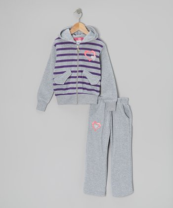 Gray Heart Zip-Up Hoodie & Pants - Toddler & Girls