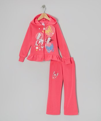 Pink Ruffle Zip-Up Hoodie & Pants - Toddler & Girls