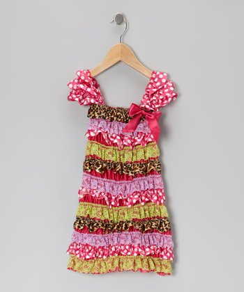 Pink & Green Leopard Ruffle Dress - Infant