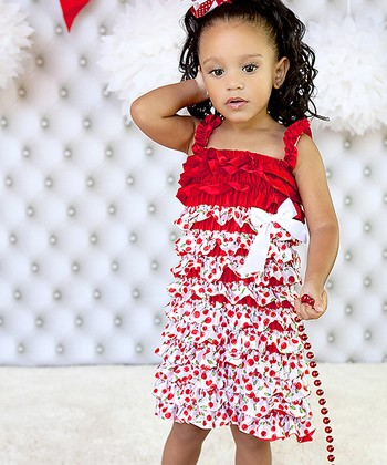 Red Cherry Satin Ruffle Dress - Infant, Toddler & Girls