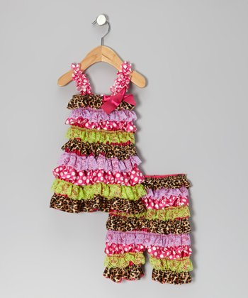 Pink & Green Leopard Dress & Shorts - Infant
